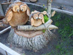 декор сада деревянные совы