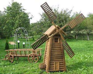 декор сада декоративная мельница