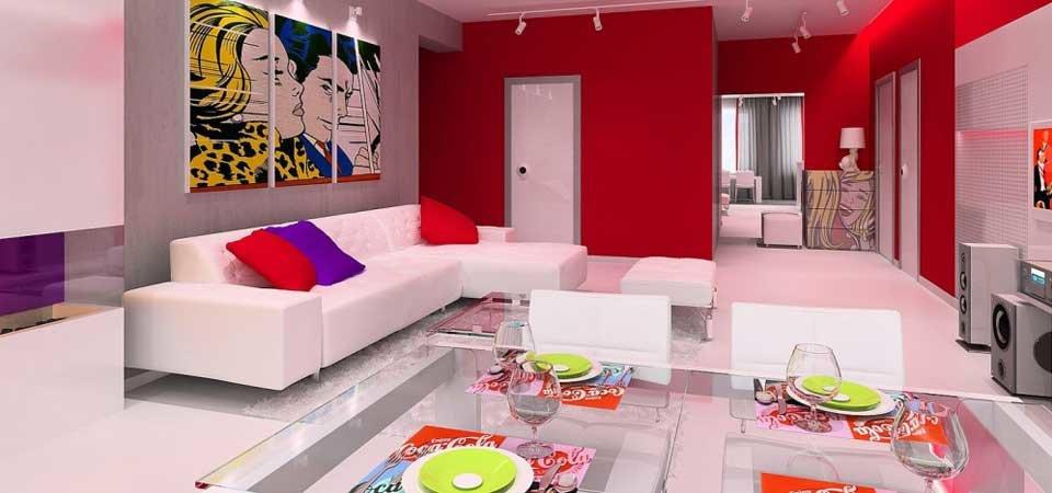яркий акцент в дизайне гостиной