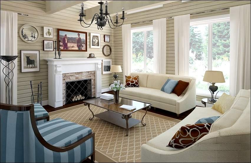 яркий акцент в интерьере гостиной деревянного дома
