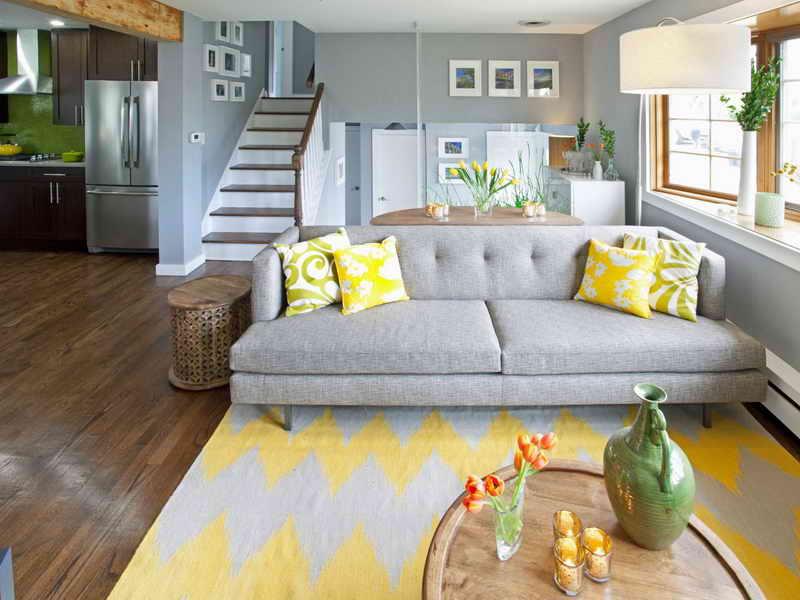 серый и желтый цвета в итерьере